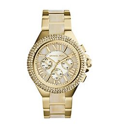 Michael Kors Women's Chronograph Camille Horn and Gold-Tone Stainless Steel Bracelet Watch - For Her - Jewelry Watches - Macy'. Bijoux Michael Kors, Cheap Michael Kors, Michael Kors Watch, Cheap Handbags, Cheap Bags, Mk Handbags, Watch Sale, Stainless Steel Bracelet, Jewelry Watches