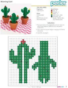 Perler Beads Cactus in 2020 Perler Bead Designs, Easy Perler Bead Patterns, Melty Bead Patterns, Hama Beads Design, Perler Bead Templates, Diy Perler Beads, Perler Bead Art, Beading Patterns, Pearler Beads