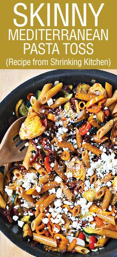 Skinny Mediterranean Pasta Toss! Recipe from Shrinking Kitchen, you will love the flavor combinations! Sure to be a family favorite!