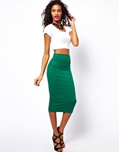 ASOS Wasp Pencil Skirt, love the colours and the crop top!