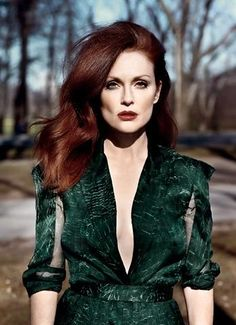 Julianne Moore is my redhead idol. I think her stylist does a great job with showcasing her pale skin and red hair. She always wears the right colors