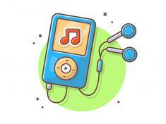 Leitor de música com fone de ouvido, not. Audio Music, Recorder Music, Electronic Music, Dj Music, Multimedia, Pop Art, Music Recording Studio, Note Doodles, School Icon