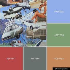 Collage | Vintage Car | Warm |Color Palette Inspiration. | Digital Art Palette And Brand Color Palette.