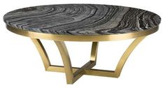 Aurora Coffee Table in Black Wood Vein Marble and Brushed Gold Stainless Steel Base