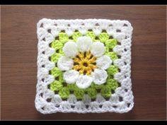 かぎ針編みの四角モチーフ 6 (3Dフラワー) How to Crochet Motif - YouTube