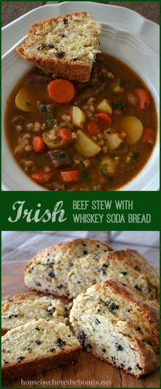 Irish Beef Stew with Irish Whiskey Soda Bread! A delicious stick-to-your-ribs Irish Stew and soda bread recipe with currants and caraway seed soaked in Irish Whiskey. Perfect for St. Whiskey Soda, Irish Whiskey, Scotch Whiskey, Whisky, Irish Recipes, Soup Recipes, Cooking Recipes, Irish Meals, Bread Recipes