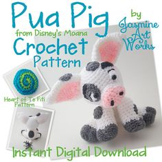 Make Pua Pig from Disneys Moana! My kids love the Characters in Moana, Pua is a definite favorite. I made my Daughter her own Pua and decided to recreate and write down the instructions so others can crochet one too! For beginner to intermediate crocheters. This silly Character is a blast to make!  Included is a bonus crochet pattern on how to make the Heart of Te Fiti from the movie as well! Pua Sits about 11 tall. Ears are posable and the tail is fun to flip!  Requires Hook Size 4.5mm, 4…