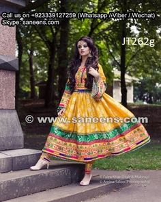 wholesale afghan fashion yellow gowns clothes persian pashtun singer dresses frocks