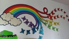 Rainbows and butterflies inspo School Decoration Ideas for Spring Season Spring Crafts For Kids, Summer Crafts, Diy And Crafts, School Wall Decoration, School Decorations, Vinyl Decor, Vinyl Wall Decals, Rainbow Wall Decal, Just Kids