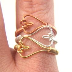 Gold Heart Ring Handmade Wire Wrapped Made to Order $15