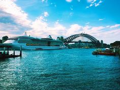 The Sydney Harbour Bridge! Sadly partially obstructed by the MS Radiance of the Sea!   #sydney #sydneyharbour #sydneyharbourbridge #circularquay by hungrymary http://ift.tt/1NRMbNv