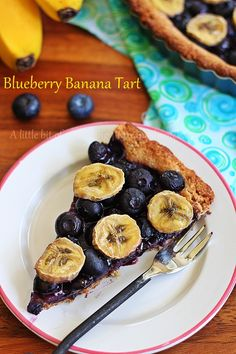 Blueberry banana tart recipe - nutty, melt in your mouth crust topped with tart blueberries and sweet bananas