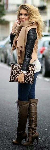 Long Boots Stylish Scarf and Comfortable Fashion Outfit