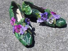 Leafy Green and Purple Pansy Flower Fairy Shoes, Fairy Pumps, Cosplay Shoes, Wedding Flower Footwear, Bridal Slippers, Elf Slippers by FairyFlowerDreams on Etsy