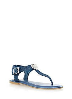 Rhinestone Heart Perforated Glitter T-Strap Sandals,BLUE DENIM