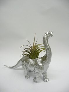Silver Diplodocus Dinosaur Planter with Air plant by WhatJesseDid