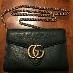 ab8aeca459c Gucci Marmont Chain Wallet bag Black Good Condition  fashion  clothing   shoes  accessories