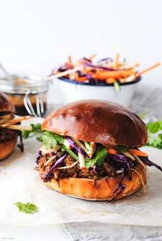 Pulled pork burgers with barbecue sauce, coleslaw and brioche buns. Recipe from Auckland, New Zealand, food photography.