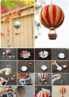 Hot air balloons with old Christmas ornaments.