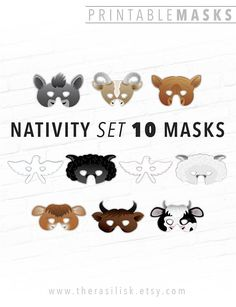 This listing is for 10 Printable Animal Masks, including: BROWN COW BLACK AND WHITE COW BROWN OX PINK DOVE BLUE DOVE DONKEY GOAT CAMEL WHITE SHEEP BLACK SHEEP Save some cash by purchasing this set instead of each mask design individually. Sorry, NO SUBSTITUTIONS on this listing but if