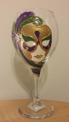 Hand painted mardi gras wine glass by J . Villa / StorybookCoach