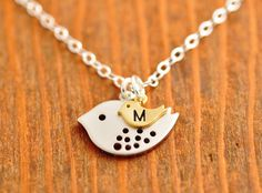 Personalized Mom Necklace - mother necklace, baby initial, initial necklace, mothers day, baby neckalce, monogrammed necklace, silver bird