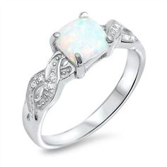 Princess Cut Opal Infinity Cz .925 Sterling Silver Ring Sizes 4-11