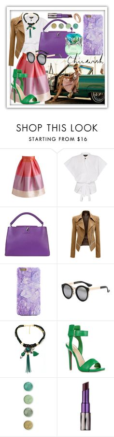 """""""Colors of the world!"""" by fashgirl-793 ❤ liked on Polyvore featuring Louis Vuitton, Chicwish, JustFab, Terre Mère and Urban Decay"""