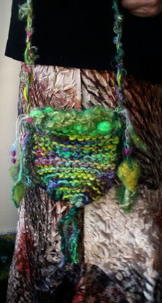 handknit rustic elven forest bag  enchanted leaf by beautifulplace