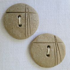 Unglazed natural stoneware ceramic buttons