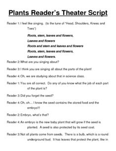 This is a 4 1/2 page reader's theater script that is all about plants.  Tie fluency and science together with this script that is ready to use in y...