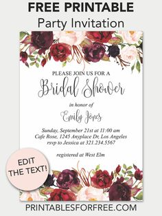 Newest Free of Charge marsala floral printable bridal shower invitation free Free Printable Wedding Invitation Temp. Strategies Wedding Invitation Cards-Our Ideas When the day of your wedding is set and the Location is booked, j Blank Wedding Invitation Templates, Free Printable Invitations Templates, Free Wedding Invitations, Wedding Templates, Templates Free, Invitation Cards, Invites, Free Printables, Marsala