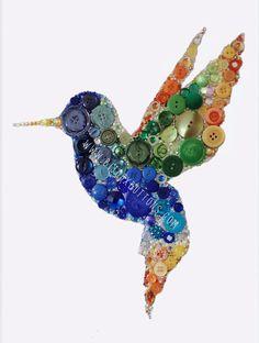 Bijoux Buttons Hummingbird Button Art & by bijouxbuttonsltd