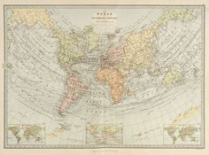 Giclee Print: World Map on Sir J. Herschel's Projection 1881 by The Vintage Collection : Old Maps, Antique Maps, Large Frames, Historical Maps, Gradient Color, Herschel, Printing Process, Giclee Print, Vintage World Maps