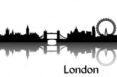 Vector illustration of black silhouette of London the capital of Great Britain. Every vector illustration comes as both a scalable EPS file and as a large RGB JPEG file