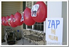 """""""Zap the Villian"""" (with a water gun!) for kid's birthday party!  Spiderman, Superman, Captain America, party"""