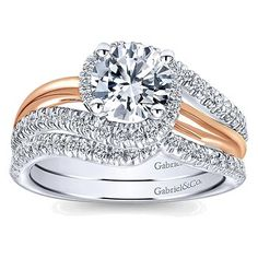 14K White Gold, 14K Rose Gold. Engagement Ring. Gabriel and Co.