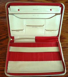 vintage office funk Stationery sweet file folder in  Cream Ivory LEATHER folder by Inktiques, $45.00