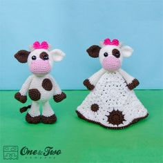 Doris the Cow Lovey and Amigurumi Crochet Patterns by One and Two Company