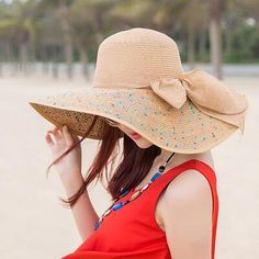Details about Lanzom Womens Wide Brim Straw Hat Floppy Foldable Roll ... e7d88729c6ea
