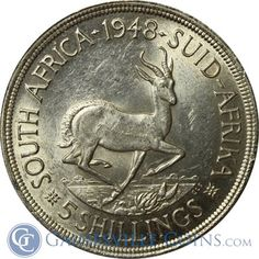 1948-1950 South Africa 5 Shilling Silver Coin (.7273 oz of Silver) - Random Date