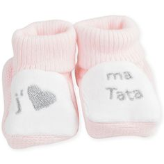 """1 pair of baby booties """"I love my aunt"""" - Les Kinousses #baby #socks #booties #girls #pink #ilovemyaunt #leskinousses"""
