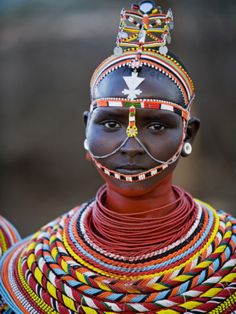 Samburu woman in traditional tribal dress, Kenya. Getting ready for bed each night is a 3 hour ordeal. African Tribes, African Women, African Art, African Face Paint, Tribal African, Cultures Du Monde, World Cultures, We Are The World, People Around The World