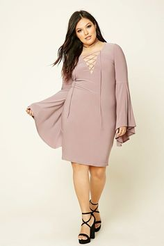 $22.90 Plus Size Lace-Up Mini Dress  Mauve. Mauve. Mauve. With bell sleeves and a deep cut. All the trends in one dress. One dress you need!