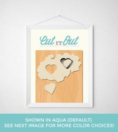 Kitchen Baking Print - Cut it out - modern baking wall art minimal decor aqua teal blue baker heart cookie cutter dough sweets dessert funny by noodlehug on Etsy https://www.etsy.com/listing/221941991/kitchen-baking-print-cut-it-out-modern