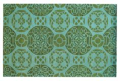 One Kings Lane - Spotlight On: Jewel Tones - Bleeker Rug, Jade/Turquoise