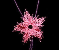Bead Necklaces – Pink netted flower necklace – a unique product by DarkEyedJewels on DaWanda