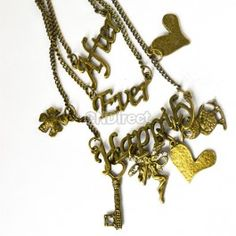 $2.40 Retro Bronze Owl Beautiful Flower Key Crystal Pendant 3 Layers Necklace