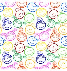 Seamless pattern with childrens faces free vector on VectorStock Watercolor Card, Scrapbook Patterns, Kids Background, Happy Children's Day, Gift Wrapper, Borders And Frames, Baby Scrapbook, Drawing For Kids, Vector Free