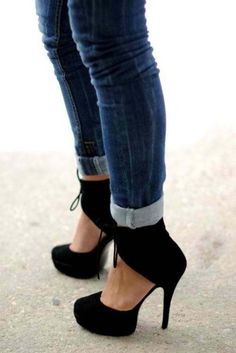 Cute close toed, black heels that either wrap around the ankle like these or have a buckle around the ankle would be beauteous!
